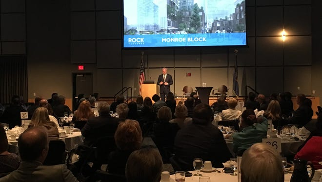 Matt Cullen, the chief executive for Dan Gilbert's family of businesses known as Rock Ventures, discussed the new construction, jobs, residents and energy that's come to Midtown and Downtown Detroit in recent years to some 400 gathered at the fifth annual Western Wayne Business Leadership Banquet.