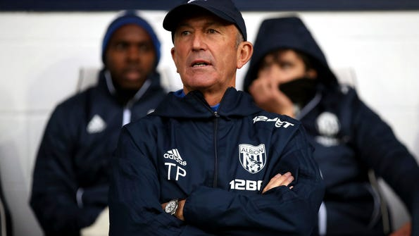 West Bromwich Albion manager Tony Pulis watches the English Premier League soccer match against  Chelsea at The Hawthorns, West Bromwich, England,Saturday Nov. 18, 2017. (Nick Potts/PA via AP)