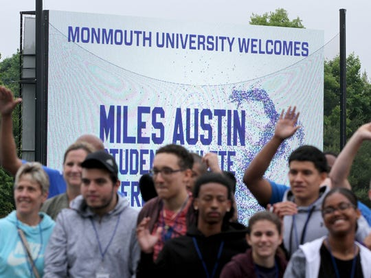 High school athletes gather at Kessler Field during a conference hosted by Former Dallas Cowboys star Miles Austin at his alma mater Monmouth University Thursday, May 31, 2018.