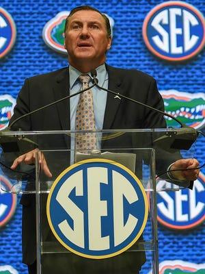 Florida Gators head coach Dan Mullen addresses the media during SEC football media day.