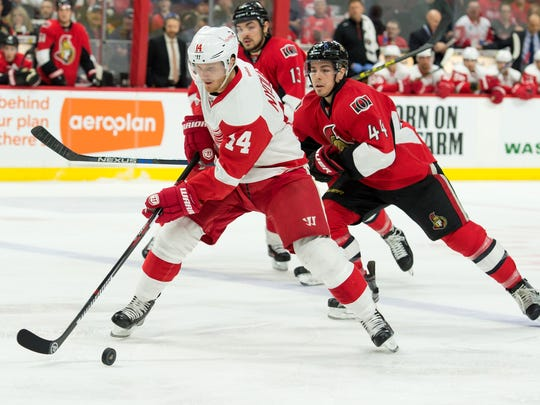 Red Wings right wing Gustav Nyquist.