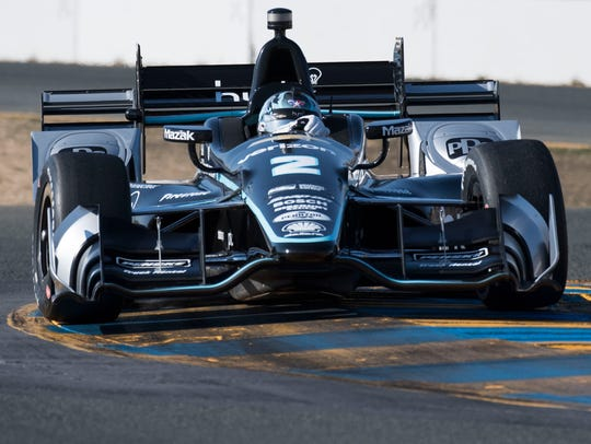 IndyCar Series driver Josef Newgarden (2) drives thru