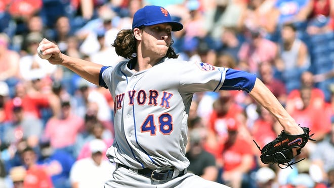 New York Mets starting pitcher Jacob deGrom (48) throws a pitch during the eighth inning against the Philadelphia Phillies at Citizens Bank Park. The Mets defeated the Phillies, 5-0.