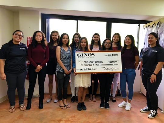 Moda Gino's Scholarship awardees for Fall 2017 to Spring 2018. Each student received $500 for their Fall 2017 semester at UOG or GCC for a total of $1,000 for their 1st academic year. Pictured from left: Andrea Quiambao (Moda Ginos), Atisa Lujan (SHS), Andreillette Mayoyo (SSHS), Princess Fernandez (OHS), Sofia Meneses (SSHS), Shaina Santiago (SHS), Laura Gombar (JFKHS), Angela Rosario (GWHS), Tina Chen (JFKHS), Regina-Mae Dominguez (GWHS) & Adriana Uribe (Moda Ginos). Not pictured are Alyssa Roces (OHS), Christian Diaz (THS) & Patrick Galimba (THS).