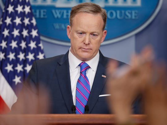 Then-White House press secretary Sean Spicer addresses reporters' questions from the Brady Press Briefing Room of the White House.
