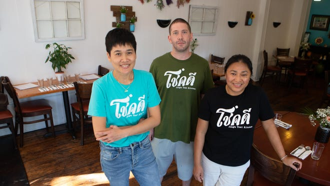 From left, Nimm Ragsdale,  Derek Ragsdale and Banjong Jongthep are ready to serve their Thai cuisine to Topekans at Jong's Thai Kitchen, 800 S.W. 12th St.
