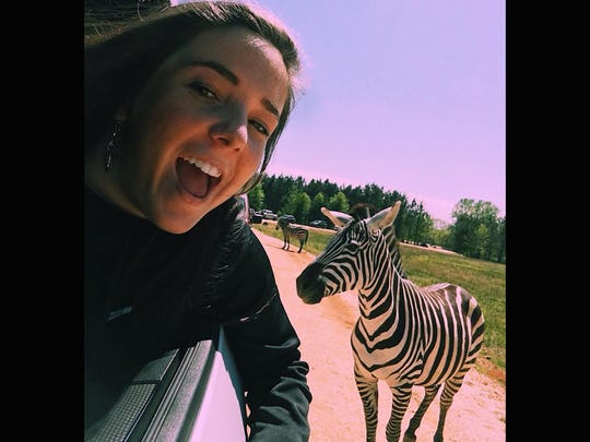 Foreign exchange student Sara Lopez Gomez visited the safari zoo with her host family from Fairview.