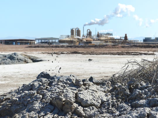 EnergySource's Featherstone geothermal plant is framed by bubbling mud pots near the southern shore of the Salton Sea on April 29, 2016.