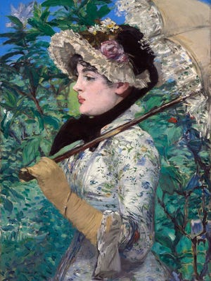 """Edouard Manet's """"Spring,"""" which could set a new record for the artist when it is auctioned on Nov. 5, 2014, at Christie's. The presale estimate for the painting depicting a Parisian actress in fancy dress and bonnet is $25 million to $35 million."""