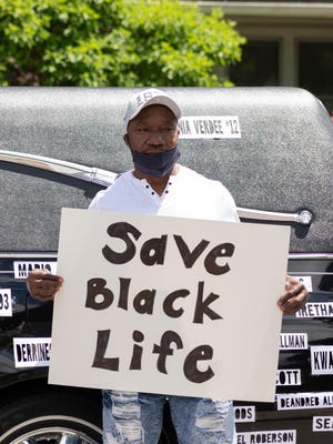 Thomas Wilson of Norwich attends the Black Lives Matter protest held at Chelsea Parade in Norwich on Saturday.