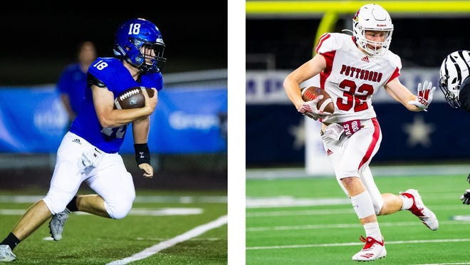 Gunter's Mitchell Brewer (left) and Pottsboro's Titus Lyons will be key players for two of the top Class 3A teams in the state this coming season, according to Dave Campbell's Texas Football Magazine.