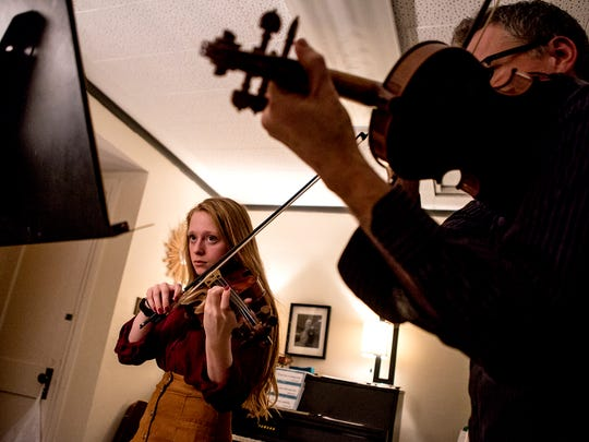 Ceridwyn Hunter, a sophomore at Granville High School, and a member of the Newark-Granville Youth Symphony Orchestra, will perform at Carnegie Hall in New York City on Feb. 5 with the Honors Symphony Orchestra. Hunter is busy preparing, with lessons from her violin instructor, James VanReeth.
