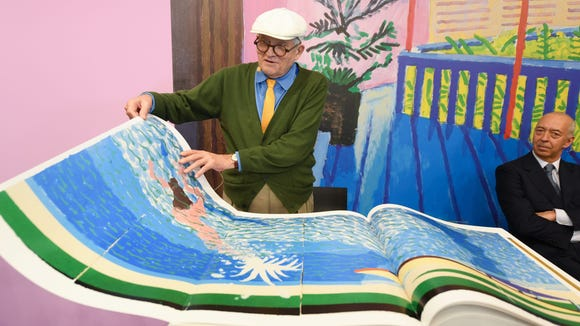 British artist David Hockney shows off one of his L.A.