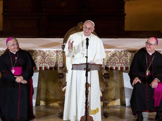 Pope Francis speaks to international bishops at Saint