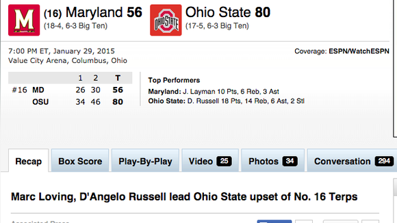 Here was ESPN.com's headline on Ohio State's win over Maryland. It wasn't an upset, but the World Wide Leader posted a headline that said it was.