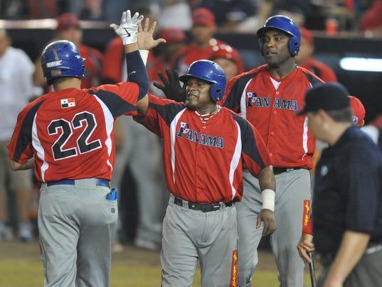 Panamanian Angel Chavez (22) celebrates