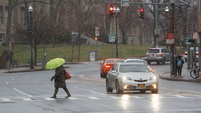 Snow flurries fell Wednesday on North Avenue in New Rochelle.