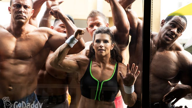 An image from GoDaddy's upcoming Super Bowl ad with Danica Patrick.