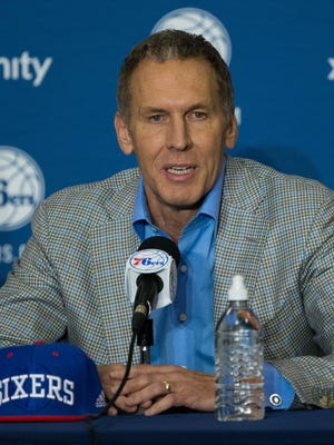 Philadelphia 76ers president of basketball operations Bryan Colangelo during a press conference.