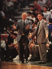 MSU basketball coach Jud Heathcote and his assistant