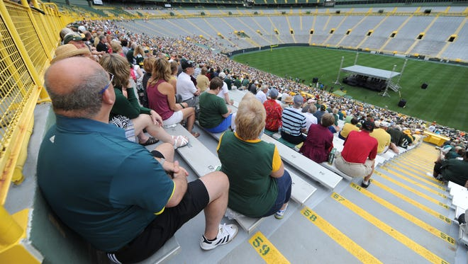 Green Bay Packers shareholders watch proceedings during the 2017 annual meeting at Lambeau Field.