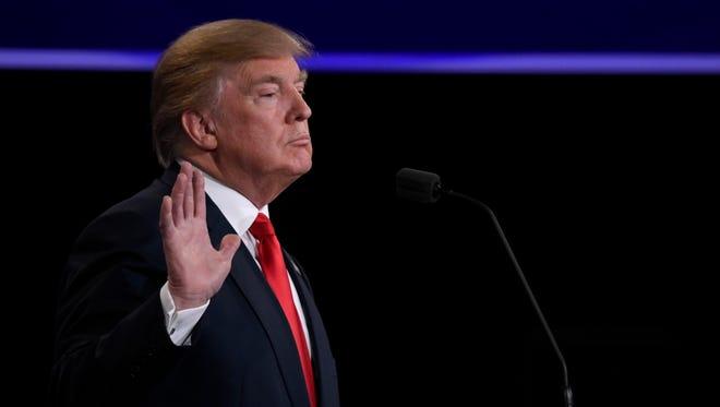 Donald Trump takes part in the third presidential debate in Las Vegas on Oct. 19, 2016.