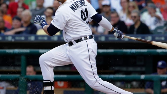 Detroit Tigers  Victor Martinez grounds out to end the third inning against the Brewers . The Brewers defeated the Tigers 3-2  on Monday, May 18, 2015 at  Comerica Park.