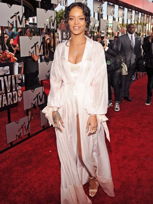 Singer Rihanna attends the 2014 MTV Movie Awards at Nokia Theatre L.A. Live on April 13, 2014 in Los Angeles.