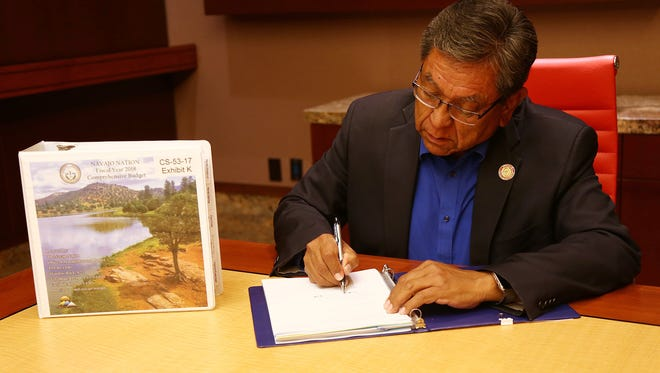Navajo Nation President Russell Begaye signed the tribe's comprehensive budget for fiscal year 2018 on Sept. 30 at Twin Arrows Casino Resort near Flagstaff, Ariz.