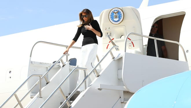 First lady Melania Trump arrives at Davis–Monthan Air Force Base on June 28, 2018, in Tucson.