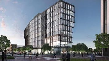 This is a rendering of the headquarters for Cummins' Global Distribution Business being constructed in Downtown Indianapolis. Cummins says the $30 million, 10-story office tower at the site of the former Market Square Arena site Downtown is to open in late 2016.