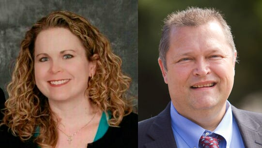 Challenger Kristen Randall, left, and Bill Green, incumbent candidate vying for county commissioner representing district 2.