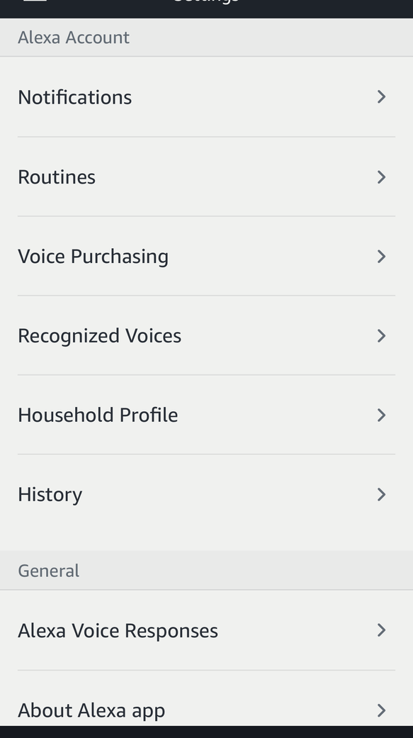 Go to the History section in the Amazon Alexa app to