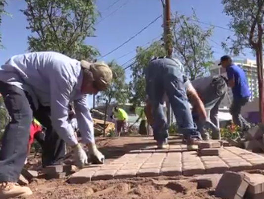 Volunteers building path at Las Vegas Community Healing Garden