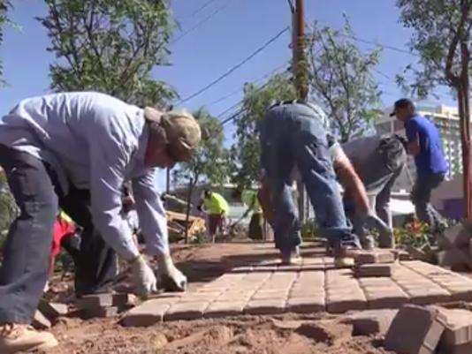 Volunteers building path at Las Vegas Community Healing Garden