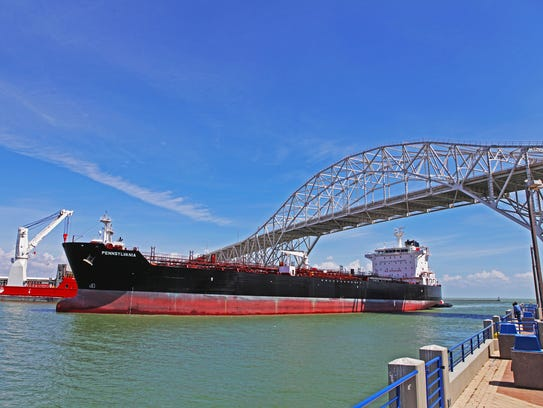 Vessel traffic in and out of the Port of Corpus Christi