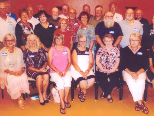 Pictured are Jean (Cihlar) Olsen, front row from left, Darlene (Bielen) Kurzynski, Cheryl Huber, Marg (McDonald) Morris, Pat (Fink) Luther, Diane (Austin) Rosenbrook, Virginia Wojdac; teacher Jim Rass, middle row from left, Joy (Buchkowski) Wissing, Sharon (Brown) Borth, LaVonne (LaFave) Bennett, Grace (Gronski) Cashman, Francis Clark, David Staeck, Charlene Bielen; teacher Pat Buchberger, back row from left, Jim Wysocki, Ed Wesolek, Jerry Nest, Dale Maguire, Ron Deiler, Tom Mielke, Glen Miller, Richard Thanig and Dennis Dawiedczyk. Missing from the photos are Jim Zell and teacher Rose Colb.