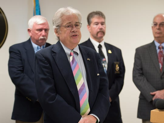 State Auditor, Tom Wagner, speaks at a press conference concerning the former treasurer of Mid-Sussex Rescue Squad who took more than $100,000 from the rescue company over a five-year period.