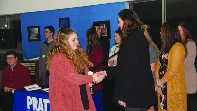 Pratt Community College continues to monitor COVID-19 impact, while insuring that students have access to normal classes and educational opportunities, like this Phi Thetta Kappa induction ceremony last week. Plans are in place to move all classes to online access, if necessary.