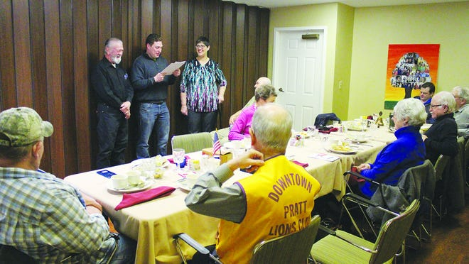 Community club meetings, like this Pratt Lions Club new member ceremony held in February 2020, are no longer permitted at Parkwood Village due to the coronavirus situation. New protocols put in place for resident safety will hopefully eliminate chances of exposure to COVID-19 at the Pratt care facility.