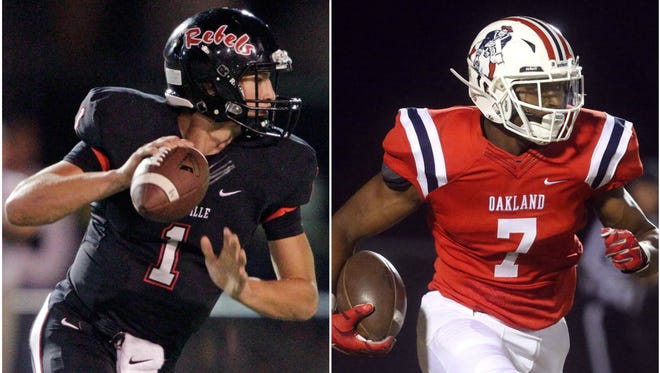 Maryville quarterback Dylan Hopkins (left) and Oakland athlete JaCoby Stevens (right)