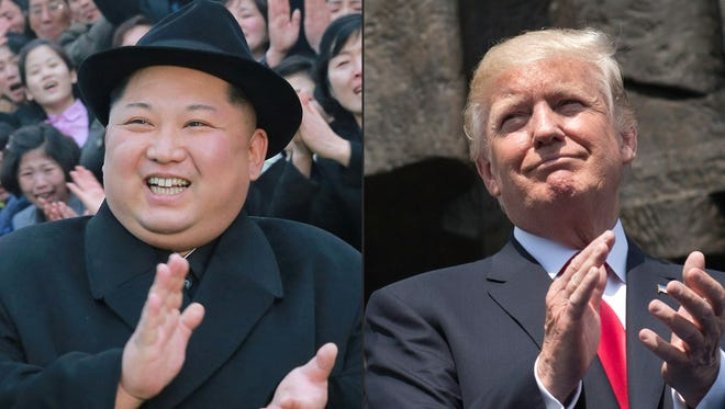 This combination of pictures created on March 9, 2018, comprising of an undated picture released from North Korea's official Korean Central News Agency on Jan. 17, 2018, showing North Korean leader Kim Jong Un and President Trump applauding as he stands in front of the Warsaw Uprising Monument on Krasinski Square during the Three Seas Initiative Summit in Warsaw, Poland, on July 6, 2017.
