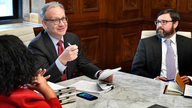 David Briley, Nashville's vice mayor for the past two and a half years, was sworn in as Metro government's eighth mayor Tuesday and went about signing paperwork on Wednesday with Metro Finance Director Talia Lomax-OÕdneal and Metro Law Director Jon Cooper.Wednesday March 7, 2018, in Nashville, Tenn