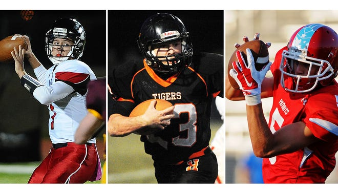 Your regular season high school football stat leaders (from left to right): Passing leader Jake Comeaux (Brandon Valley), rushing leader Luke Loudenburg (Howard) and receiving leader Nickel Meyers (Lincoln).