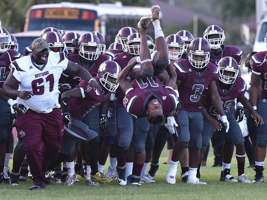 Fort Pierce Westwood High School competes against Port St. Lucie High School during Week 2 of prep football at Lawnwood Stadium on Thursday, August 31, 2017, in Fort Pierce. Fort Pierce Westwood beat Port St. Lucie 32-6.