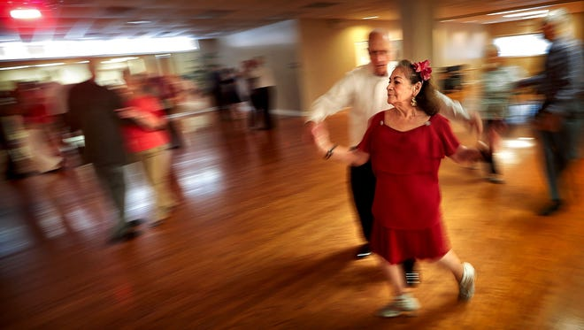 Gloria Coffey, 73, and Joe Morton, 77, take a turn around the floor at the Bartlett Senior Center during a seniors dance Tuesday afternoon. There is a need for senior activities in the greater Memphis area where census figures show that the elderly population is growing 10 times faster than the area as a whole.