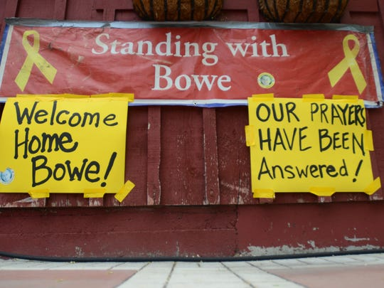 New signs hang at Zaney's coffee house in Hailey, Idaho on Saturday, May 31, 2014 after the announcement that U.S. Army Sgt. Bowe Bergdahl has been released from captivity.