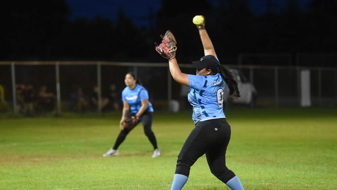 Dreamers pitcher Mish Roberto (9) at the mound against the Nationals during their APL Women's Fastpitch Softball League game at the Mike S. Tajalle Baseball Field in Piti, July 24, 2018.