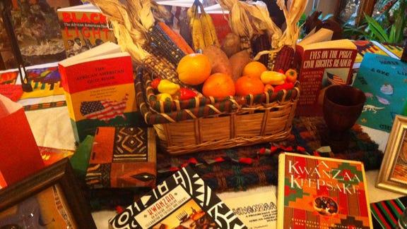 A traditional Kwanzaa table display.