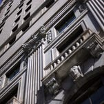 The gargoyle architecture contrasting the old with the new at the Westin Book Cadillac Hotel in Detroit.